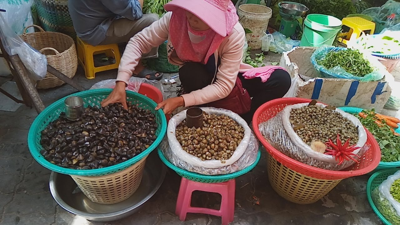Asian Street Food - Natural Living In Cambodian Market - Fresh Food View In Phnom Penh Village Food