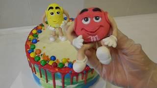 Торт M&M's/ Декор детского торта эмемдемс/ Безмастичное оформление Торта/ Цветные подтеки