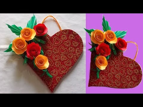 Diy Paper Heart Wall Hanging With Paper Flower||Wall hanging craft ideas|DIY Paper Artist#RD#