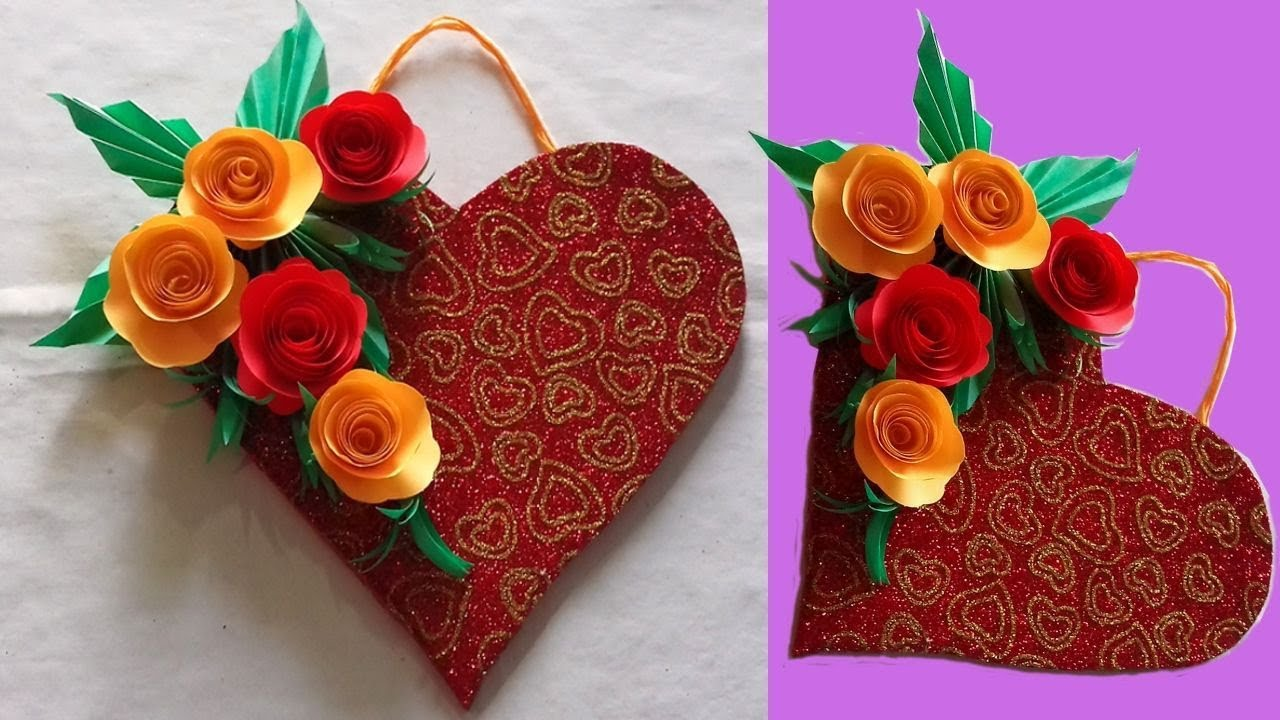 Diy Paper Heart Wall Hanging With Paper Flower Wall Hanging Craft