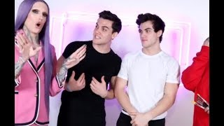 Jeffree Star Body Paints clothes onto the Dolan Twins Video