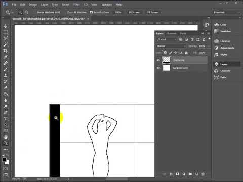 PhotoShop Basics - Barcelona Pavilion Section Graphic - Part 1