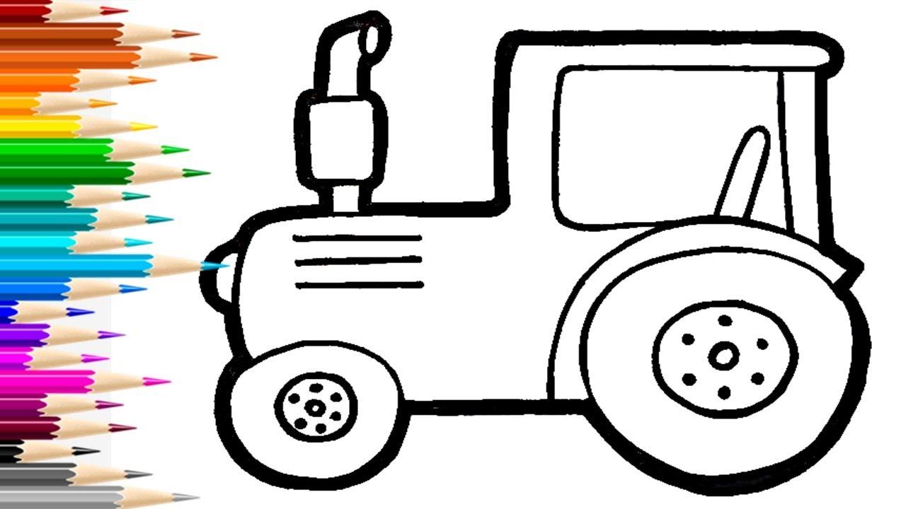 Как нарисовать СИНИЙ ТРАКТОР / раскраска для детей ...
