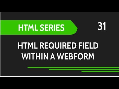 HTML Web Design Tutorials: HTML Required Attribute For Input Fields In Web Forms Lesson 31