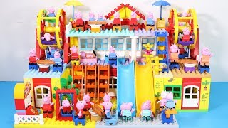 Peppa Pig Family Lego House Creations With Water Slide Toys #4