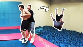 Two Man Backflip! (BROKE THE TRAMPOLINE)