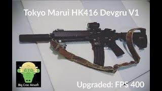 Tokyo Marui HK416 Devgru V1,review,  setup and upgrade, barrel, gear, power, spring, motor,(EP 14)