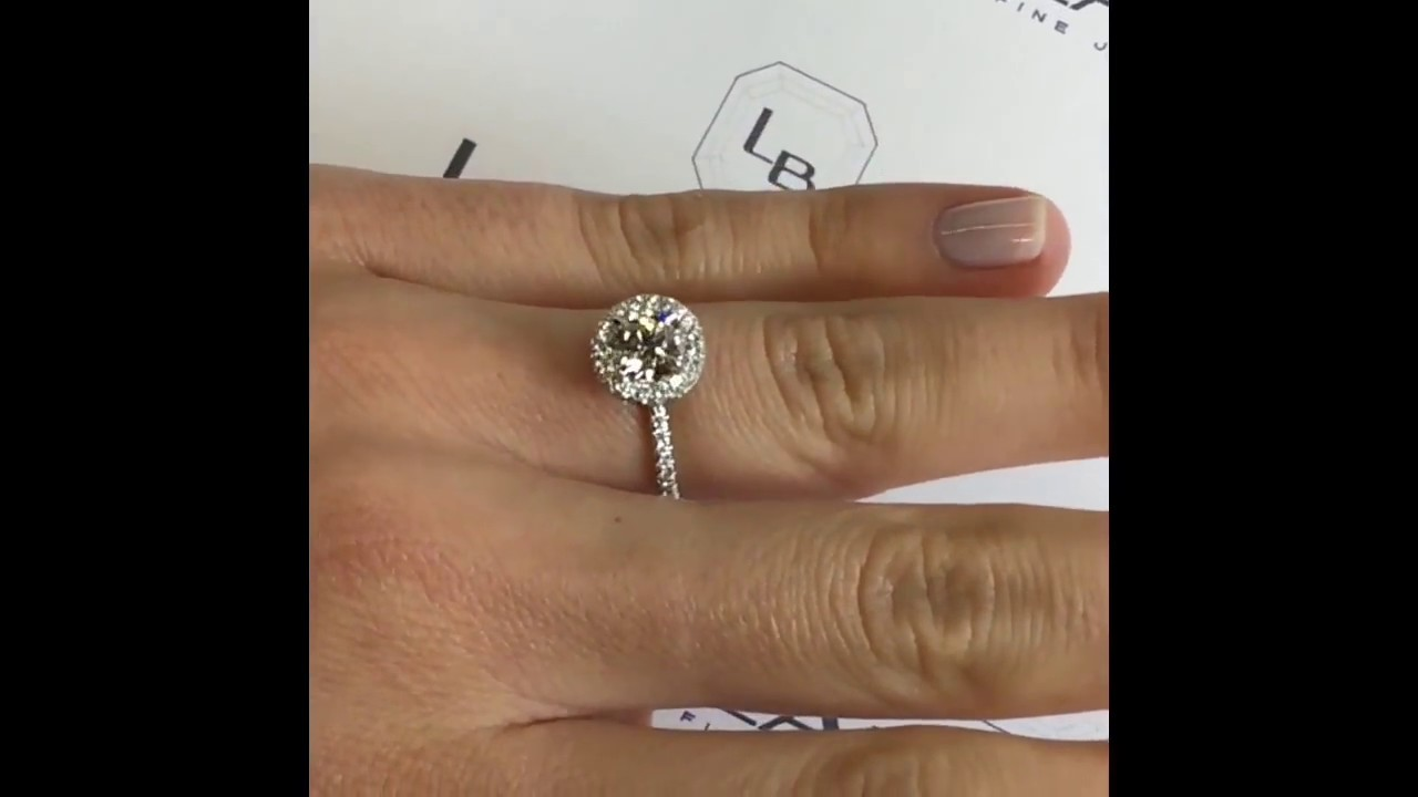 1 carat Round Diamond Halo Engagement Ring - YouTube 183f156b2aba