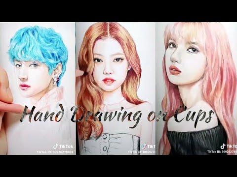 【抖音】 TikTok Kpop Art Drawing On Paper Cups