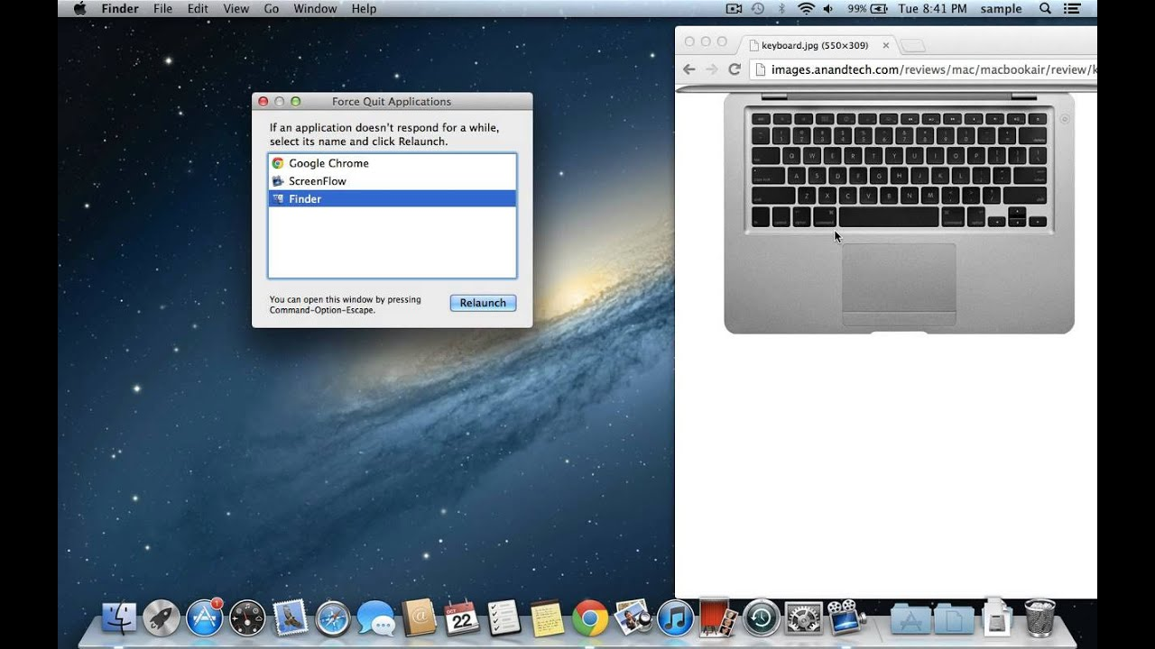 How to force quit an application on a mac