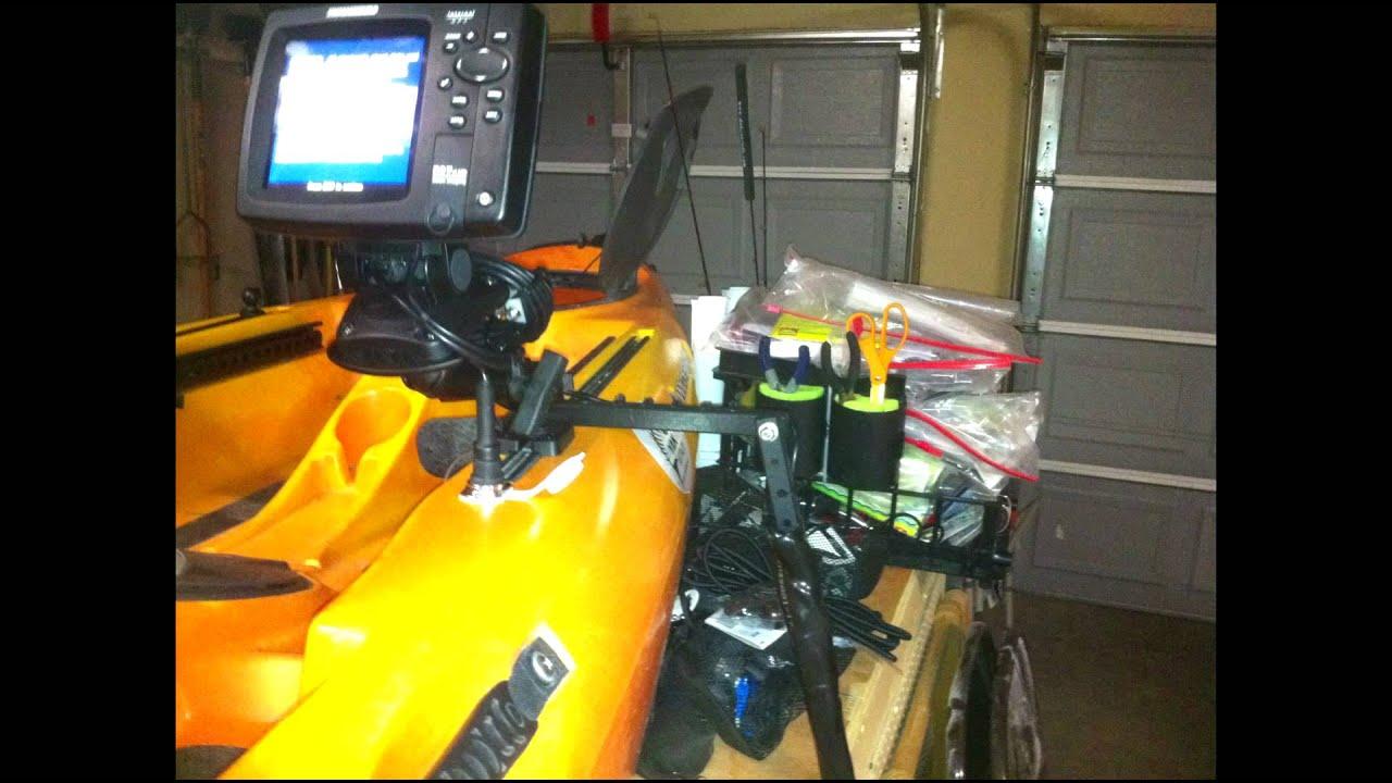 Depth finder installation on multiple kayaks youtube for Kayak fish finder install