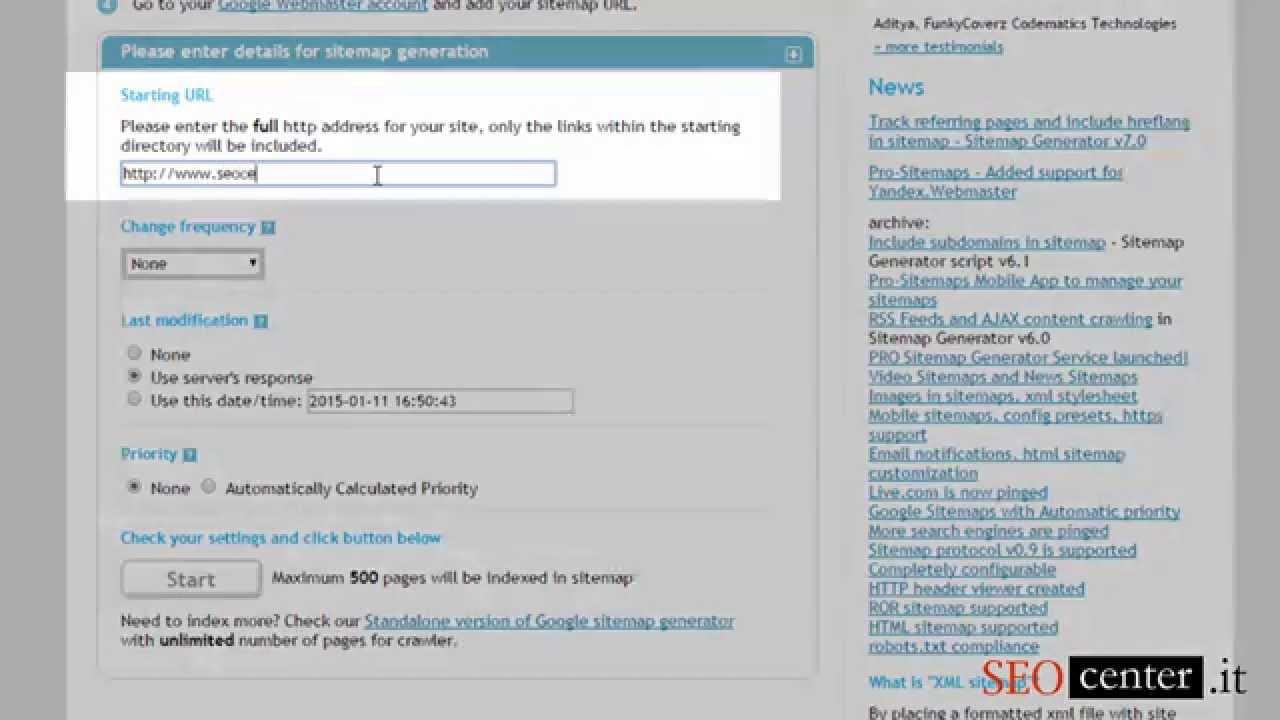 creare la sitemap con xml sitemaps com mini tutorial di seocenter