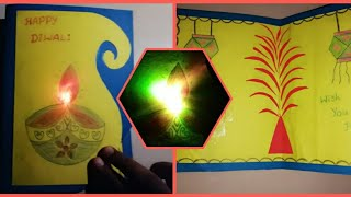 Diwali Pop Up Card with Light Up | How to make LED Light-Up Diwali card | DIY Diya Greeting Card
