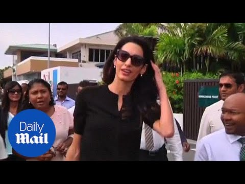 Amal Clooney arrives to huge crowds in Maldives for latest case - Daily Mail