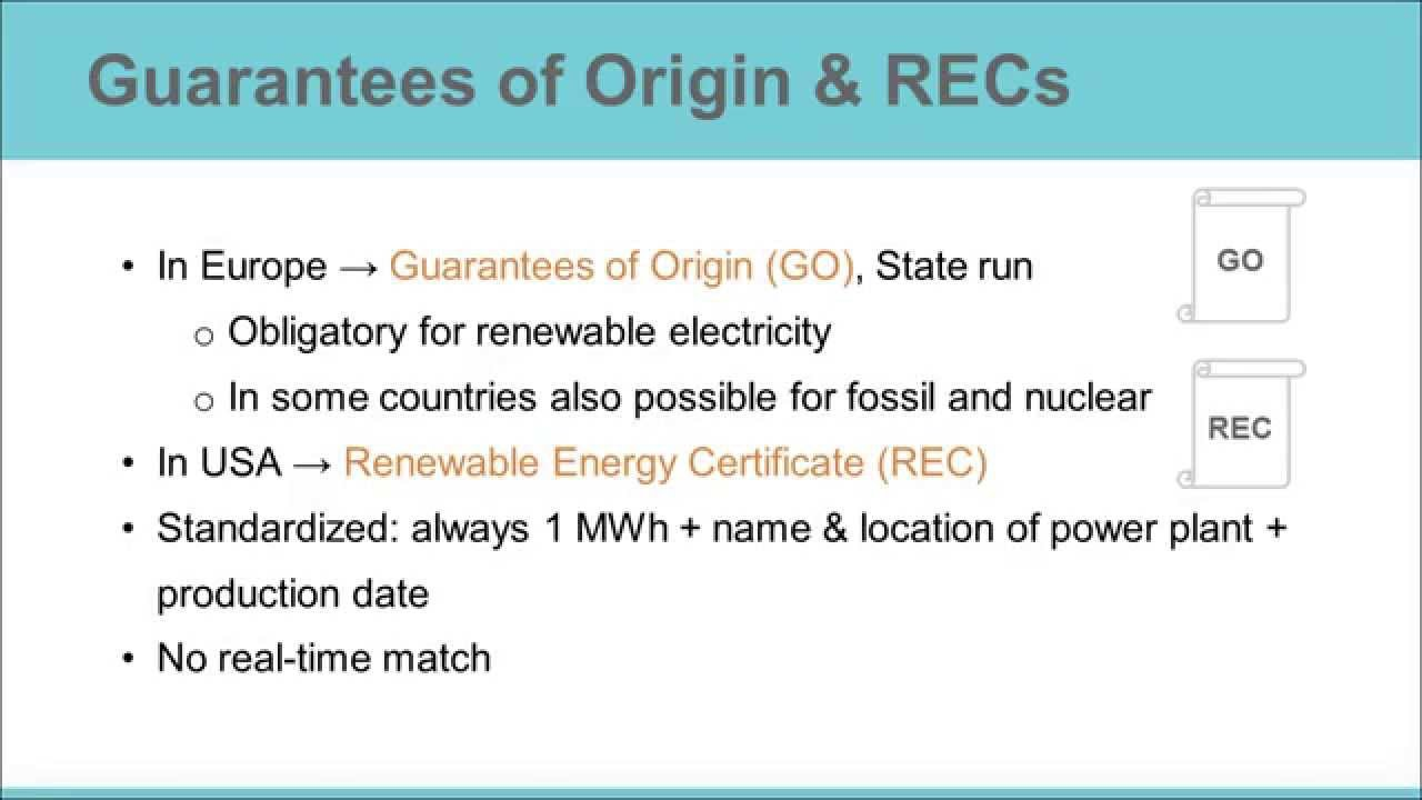 Introduction To Tracking Renewable Electricity Gos Recs Youtube
