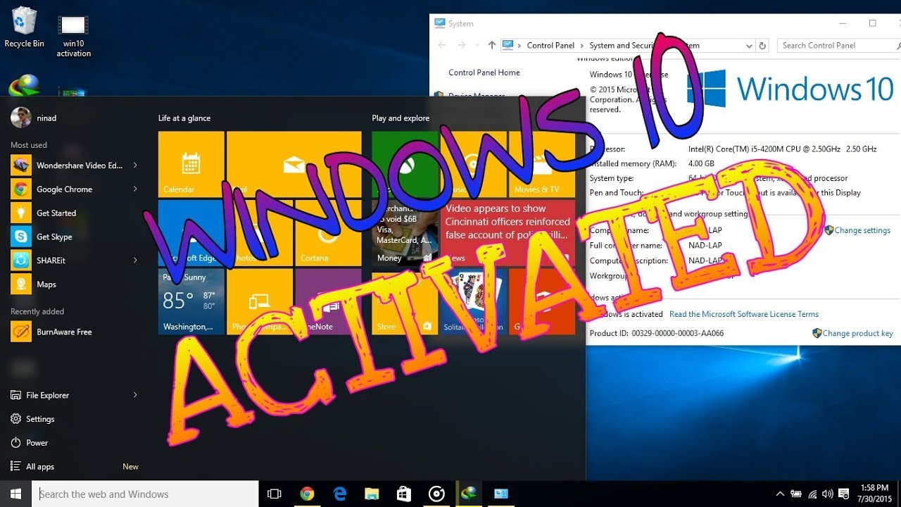 Windows 10 PRO Crack/Activation 2015 IN 30 SECONDS - YouTube