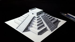 How to Draw a 3D Mayan Pyramid - Amazing 3D Trick Art