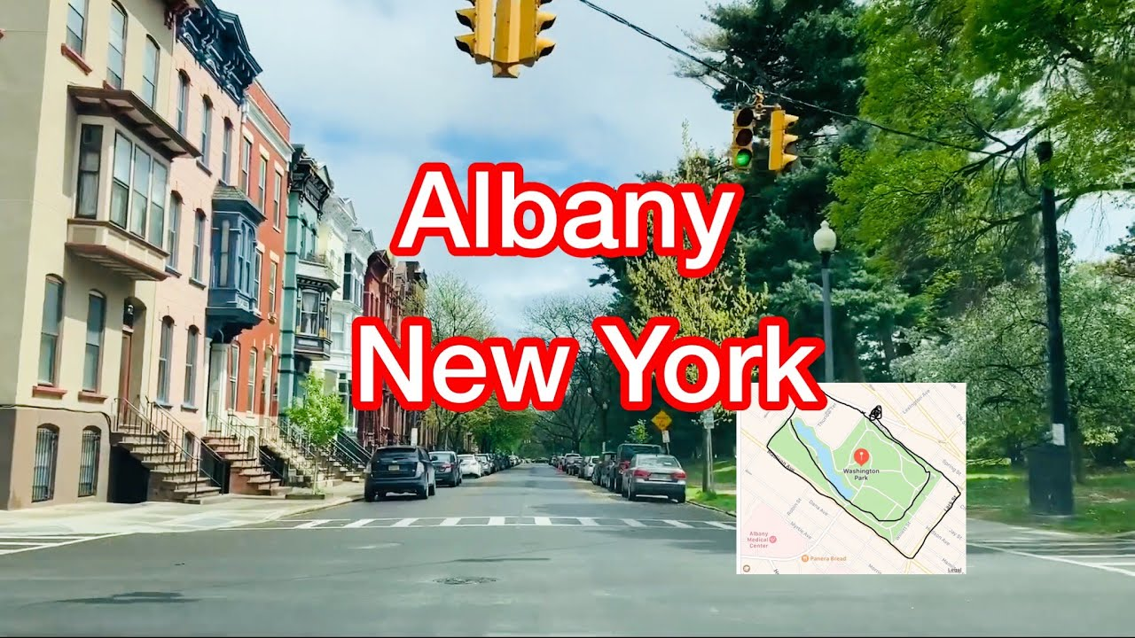 Driving Downtown Albany, New York (NY), USA - The Streets Surrounding Washington Park 华盛顿公园周围的街道