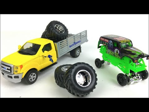 UNBOXING LIMITED EDITION GOODYEAR TIRE TRUCK & STORY WITH HOT WHEELS MONSTER TRUCK - GRAVE DIGGER