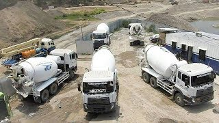 UD Trucks Quester Ready Mix Concrete Cement Truck Working On Batching Plant
