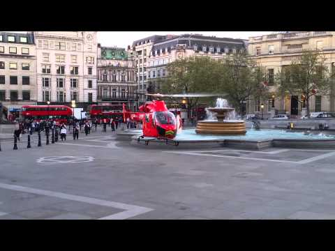 LONDON Air ambulance lands in Trafalgar Square