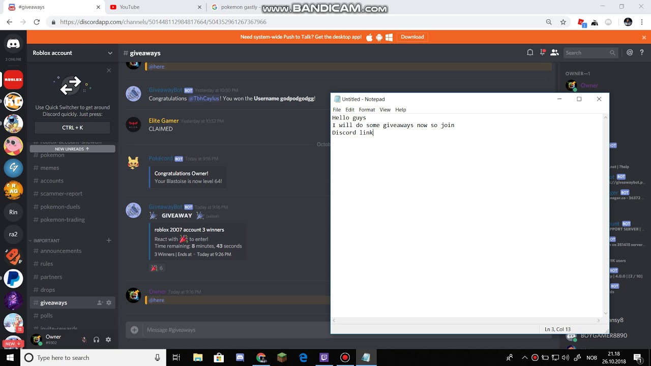 Free Roblox Account Giveaway Discord Youtube