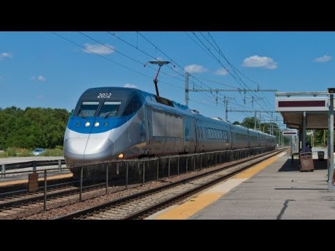 HD High Speed 150 MPH Acela Express Train in Mansfield, MA