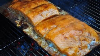 Cedar Plank Salmon With Maple Syrup And Mustard Glaze
