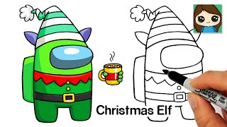 How to Draw AMONG US Christmas Elf | Christmas #5