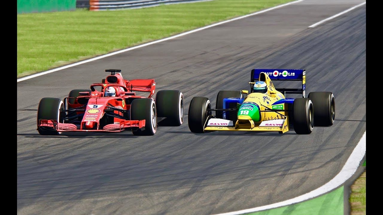 ferrari f1 2018 vs benetton f1 1991 monza youtube. Black Bedroom Furniture Sets. Home Design Ideas