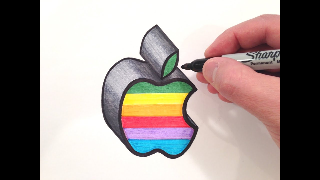 How to draw the apple logo in color 3d youtube