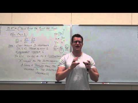 Calculus 3 Lecture 13.5:  The Chain Rule for Multivariable Functions