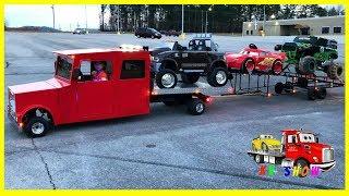 Mini Rollback Broke Down Powered Ride On Dodge Ram Grave Digger Lightning McQueen on the Trailer