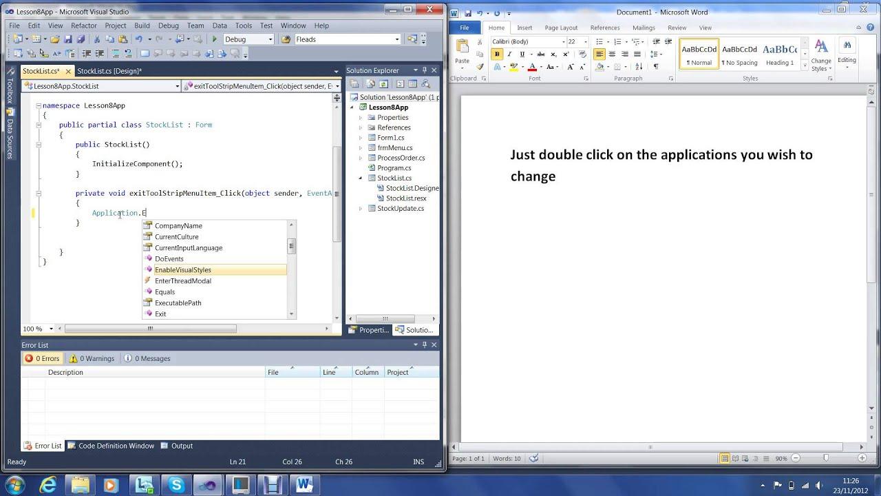 C# Visual Studio 2010 tutorial #5 Making Your Windows Form Look ...