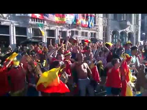 Belgium vs Russia 1-0: celebrating in Ghent