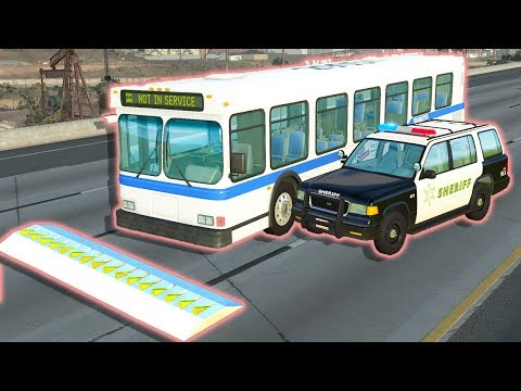 BUS POLICE CHASE WITH SPIKE STRIP TAKE DOWN! - BeamNG Drive Police Pursuits