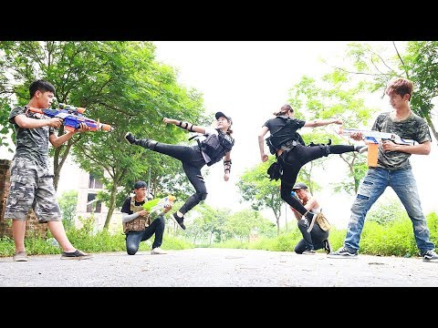 Superhero action S.W.A.T Policewoman Nerf guns Kidnapper Girl teaser SWAT Rescue Hero Man Nerf war
