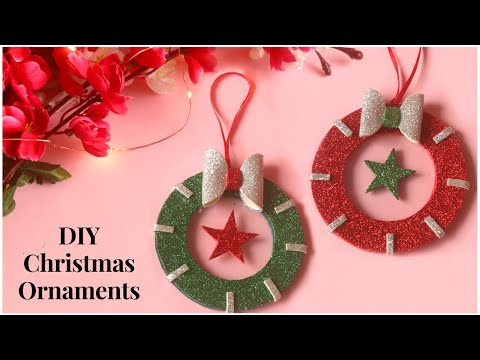 DIY Christmas Ornaments   Christmas Decoration Idea   Holiday Decor Ideas   Glitter Foam Sheet Craft
