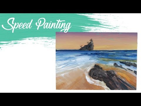 Sunset Seascape: Acrylic Speed Painting