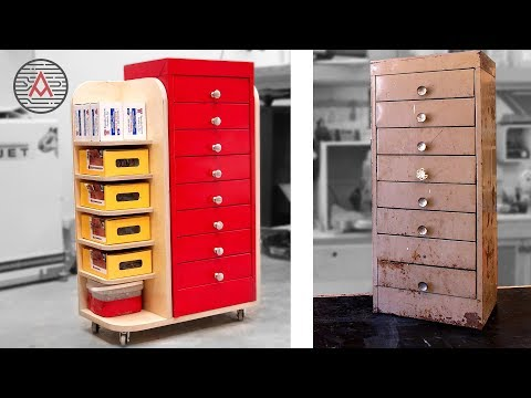 Easy Metal Cabinet Restoration and Work Shop Organization