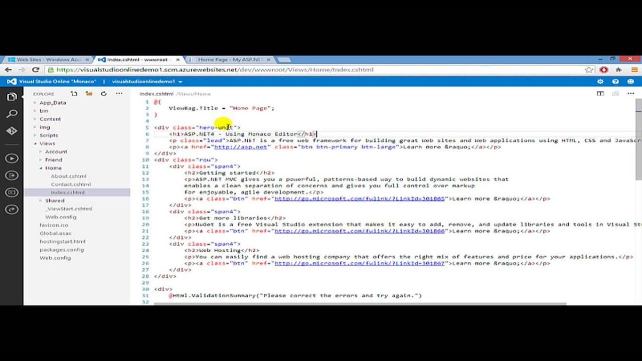 Visual Studio Online Monaco Code Editor Walk-through - Part 1 : Demo