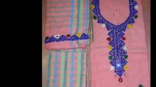 Ladies un-stitched dresses with Sindhi, Balochi, Afghan hand embroidery work and cut work