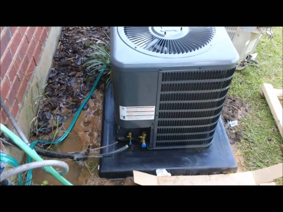 Hvac install goodman 1 5 ton system youtube for Ac condenser pad installation