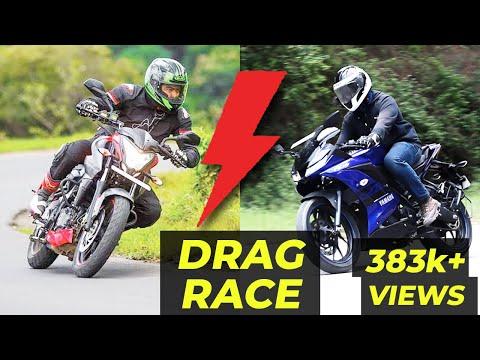 PULSAR 200NS VS YAMAHA R15 DRAG RACE