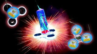 1000 MPH Fidget Spinner with Sparklers DIY Hand Spinners with Rockets and Fireworks!!