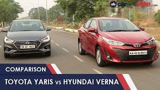 Toyota Yaris VS Hyundai Verna: Petrol Compact Sedan Comparison Review