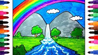 How to Draw a Rainbow with waterfall for kids_draw Scenery with color pens step by step