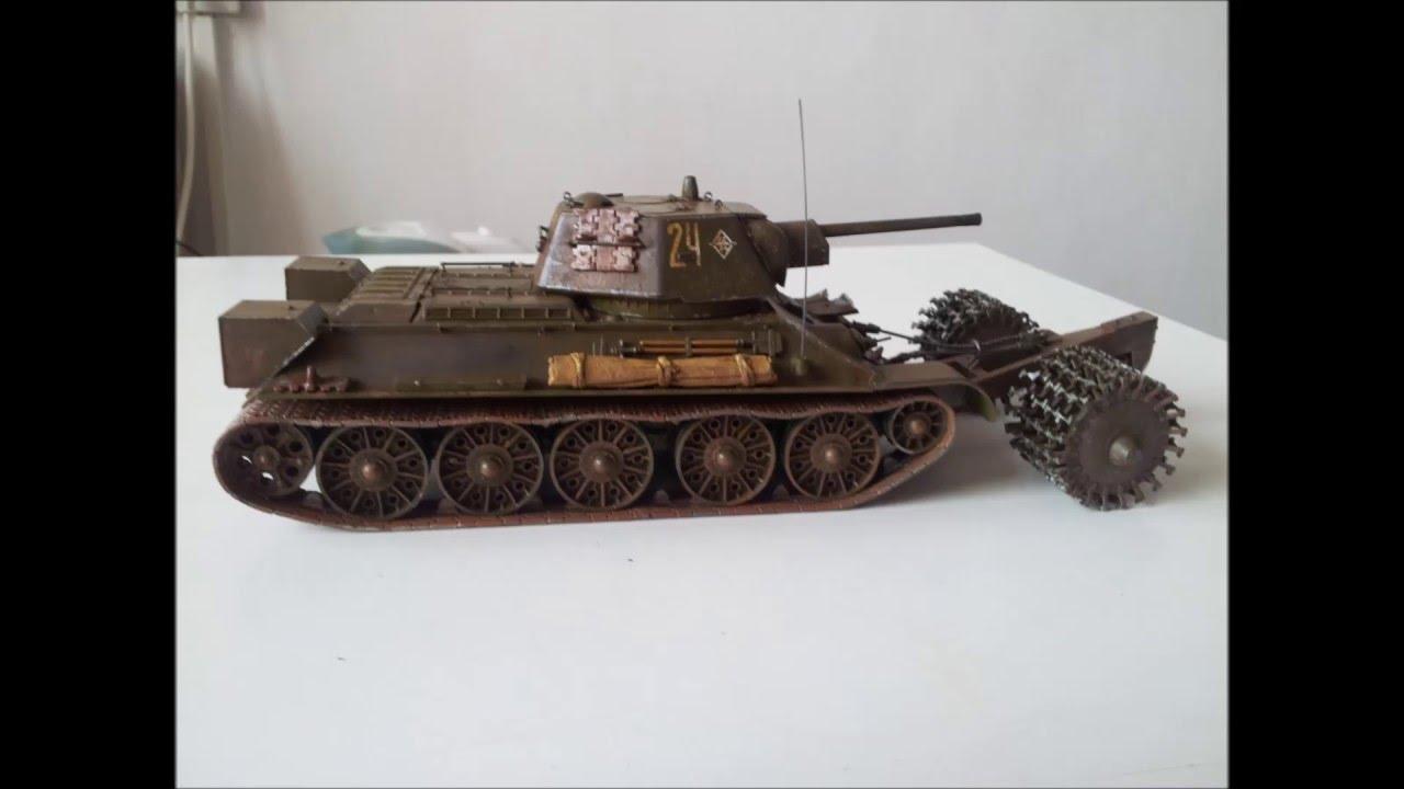 Т-34\76 с минным тралом (ZVEZDA) scale 1\35