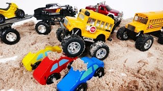 Monster Truck School Bus Playing in Kinetic Sand and Runs Over Small Cars