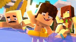 Minecraft: WHO'S YOUR FAMILY? - FAMÍLIA NO PARQUE AQUÁTICO! (Pool Party)